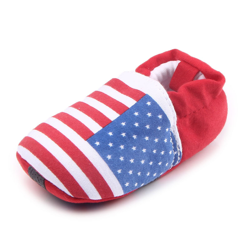 รองเท้าเด็กอ่อน 0-12เดือน รองเท้าเด็กชาย เด็กหญิง สีแดงลายธงชาติสหรัฐ