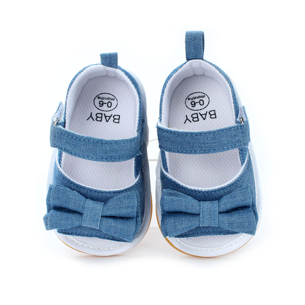 รองเท้าเด็กอ่อน 0-12เดือน สียีนส์เรียบ ติดโบว์ตรงกลาง