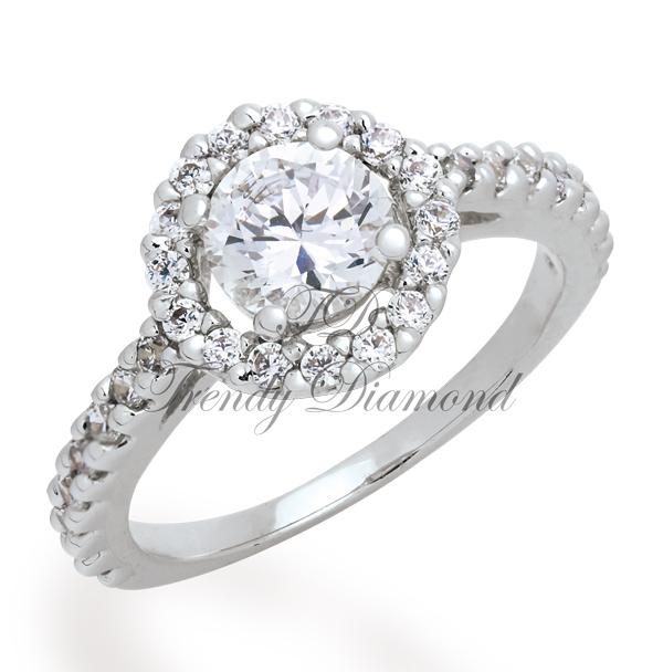 แหวนเพชร แหวน Tiffany สีทองคำขาว