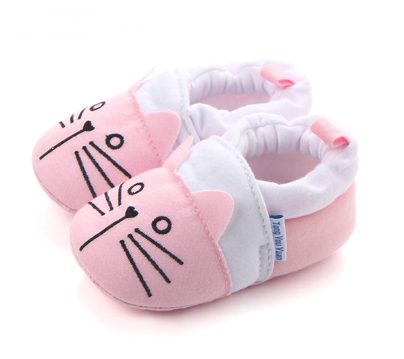 รองเท้าเด็กอ่อน 0-12เดือน รองเท้าเด็กชาย เด็กหญิง สีชมพูแมวน้อย