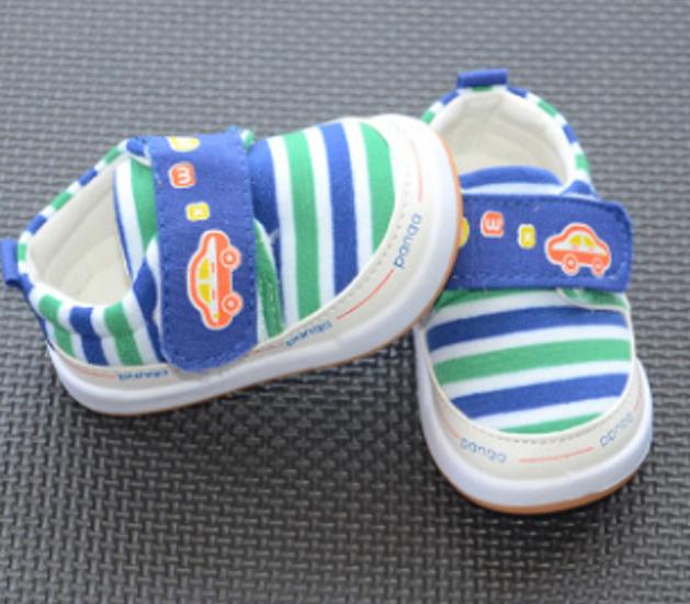 รองเท้าเด็กอ่อน 0-12เดือน รองเท้าเด็ก สีน้ำเงิน-เขียว-ขาว รูปรถ