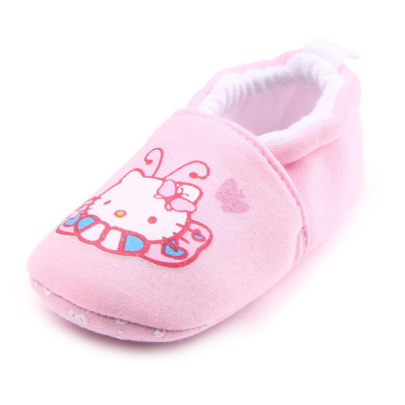 รองเท้าเด็กอ่อน 0-12เดือน รองเท้าเด็กชาย เด็กหญิง ลายการ์ตูน คิตตี้ชมพู