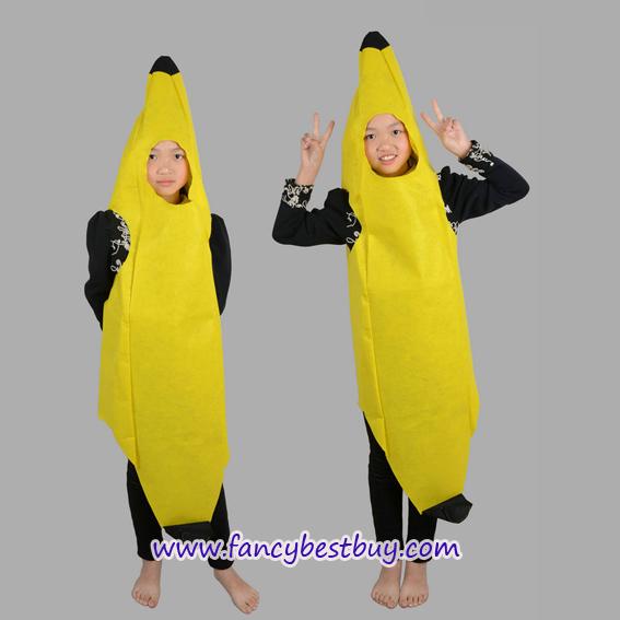 ชุดกล้วยหอมสำหรับใส่เป็นชุดแฟนซีผลไม้สำหรับเด็ก Banana Costume ขนาดฟรีไซด์ ชุดยาว 140 ซม