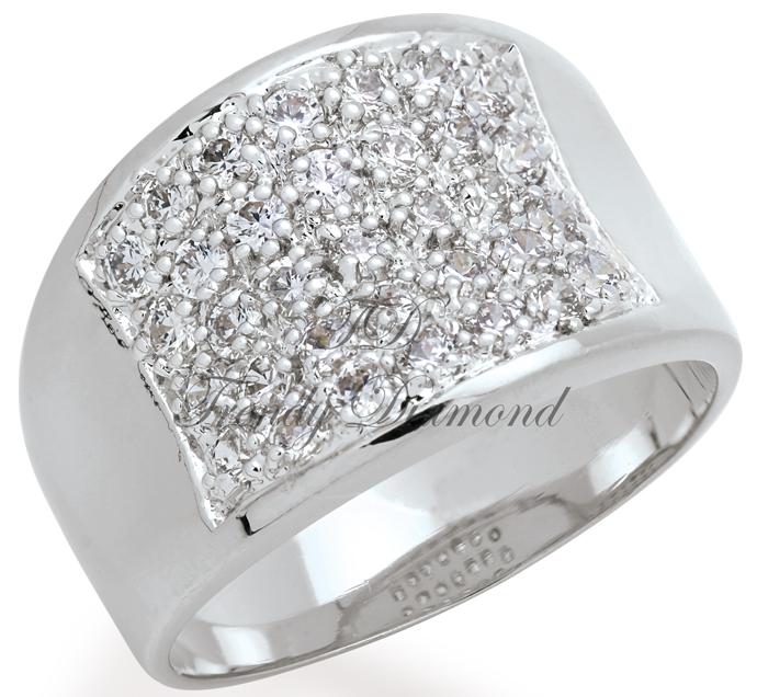 แหวนเพชรCZ เพชรสวิส อานม้า สีทองคำขาว
