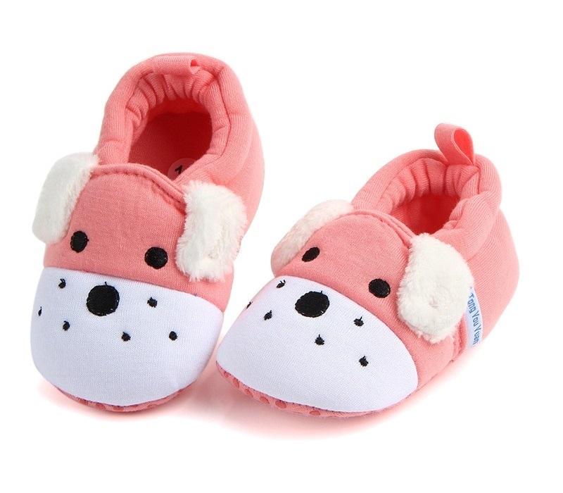 รองเท้าเด็กอ่อน 0-12เดือน รองเท้าเด็กชาย เด็กหญิง ลายหมาน้อยสีชมพู