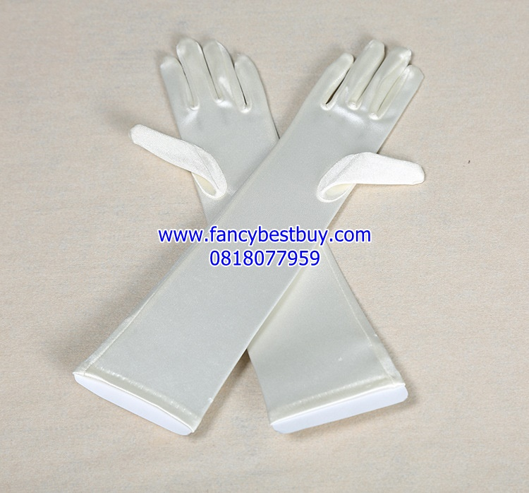 ถุงมือประกอบชุดแฟนซีเด็กหญิงหรือชุดเจ้าหญิง สีขาว Princess Glove (ขายคู่ชุดแฟนซี)
