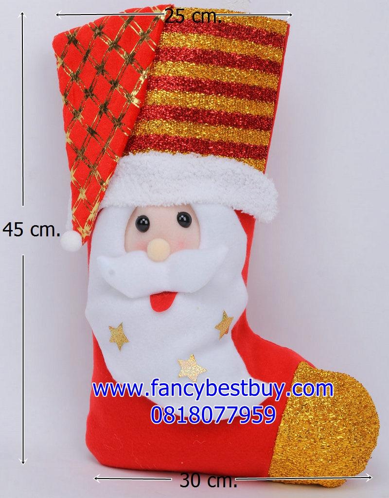ถุงเท้าขนาดใหญ่สำหรับใส่ของขวัญ จาก Santa Claus ลาย Santa ขนาด 45*23*25 ซม. (สวยมาก เด็กๆ ชอบ) (ไม่ต้องซื้อคู่ชุดแฟนซี)