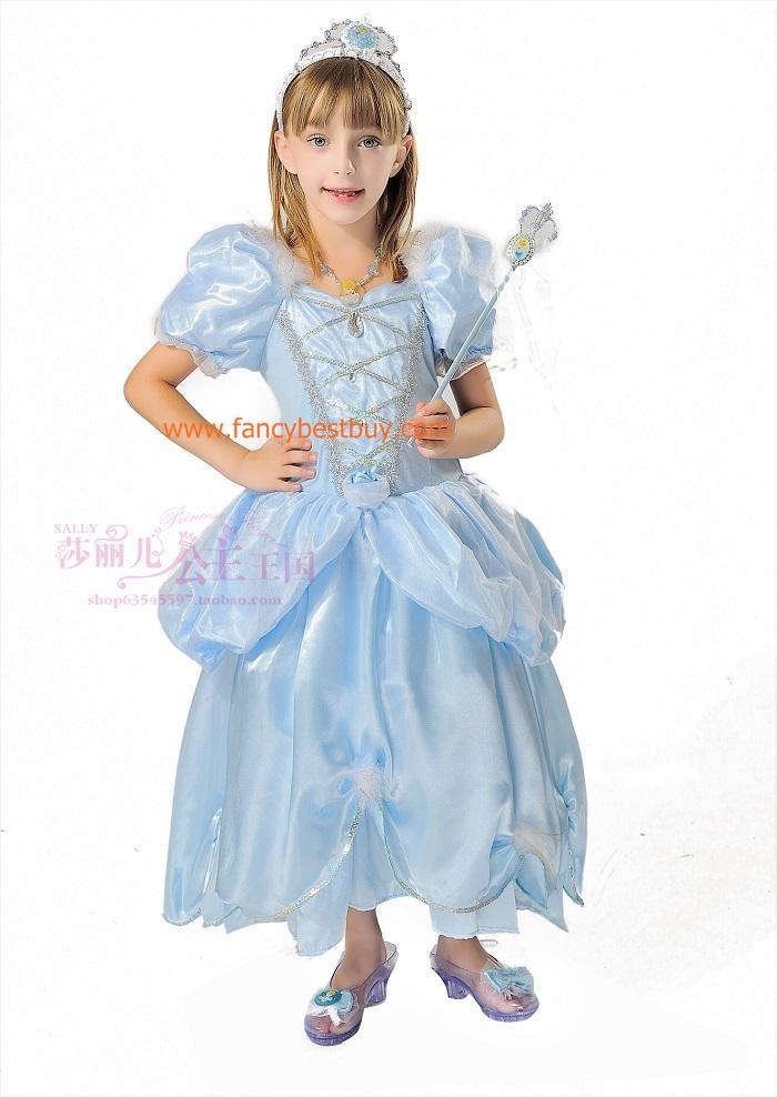 ชุดเจ้าหญิงดิสนีย์ สีฟ้า สำหรับแฟนซีเด็กหญิง Disney Princess