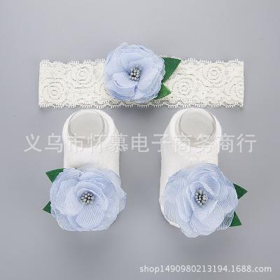 เซ็ทคุณหนูแรกเกิด มีที่คาดผมติดดอกไม้สีฟ้า1ดอก+ถุงเท้าสีขาวติดดอกไม้สีฟ้า1คู่ น่ารักมากๆเลยค่ะ สำเนา