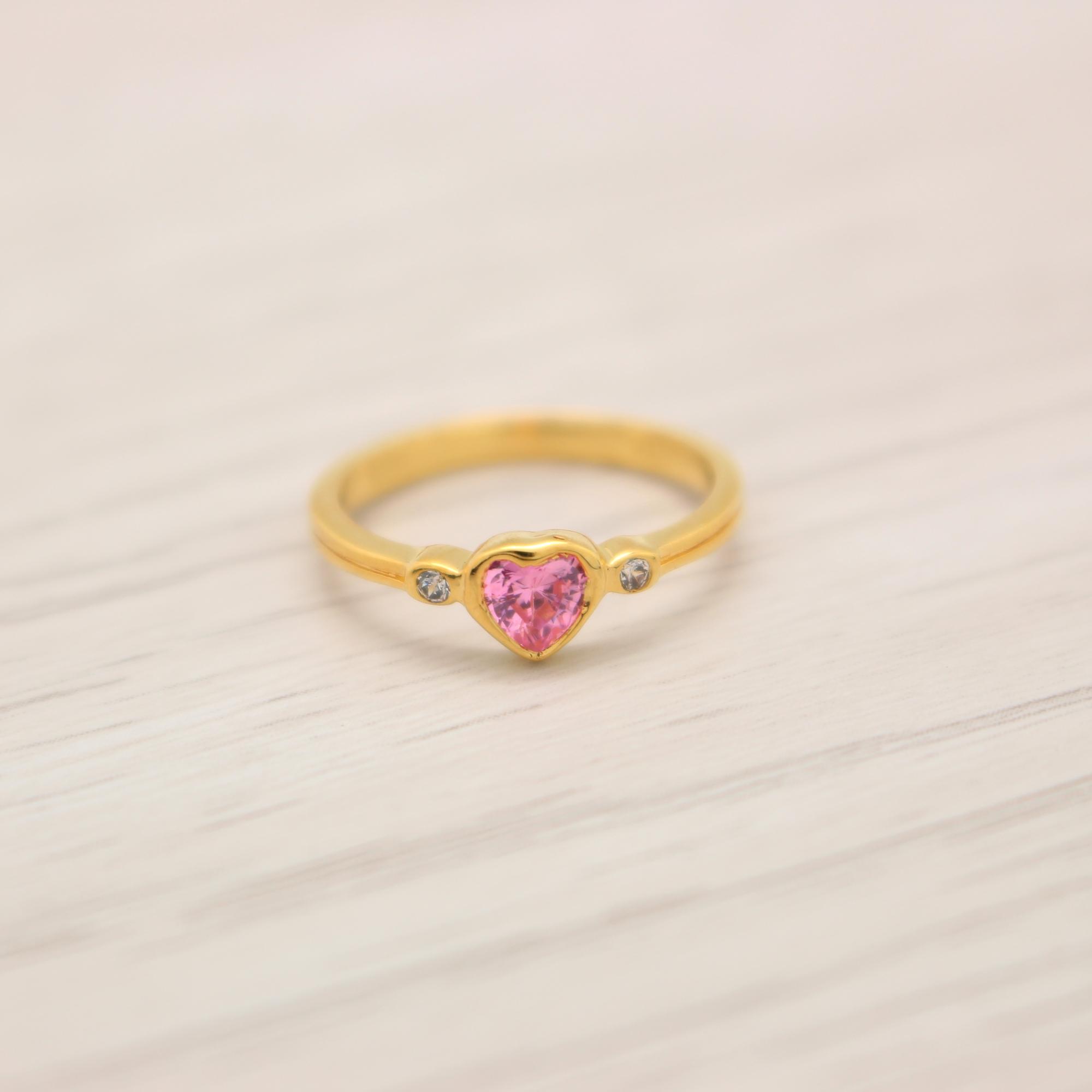 แหวนเพชรCZสีชมพู สีทองคำแท้ ไซส์ 51