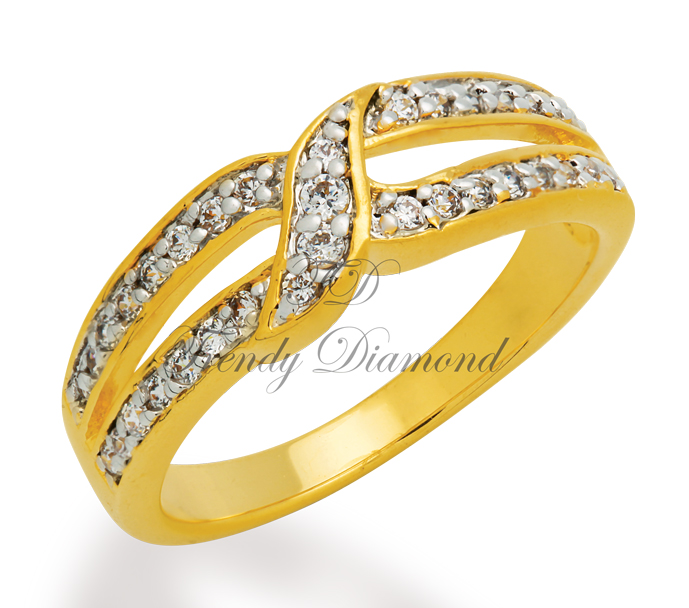 แหวนเพชรCZ เพชรสวิส สะพานรัก สีทอง