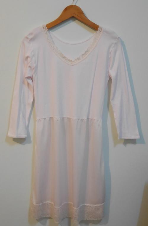 jp3569 ชุดนอนช่วงตัวผ้ายืด ต่อเอวผ้าไนลอน สีชมพูซีด ๆ รอบอก 30-32 นิ้ว