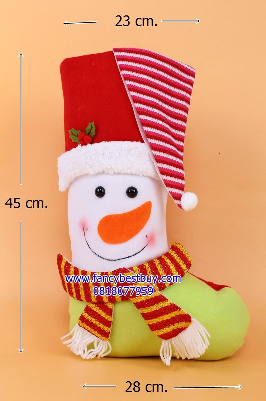 ถุงเท้าขนาดใหญ่สำหรับใส่ของขวัญ จาก Santa Claus ลาย Snowman ขนาด 45*23*25 ซม. (สวยมาก เด็กๆ ชอบ) (ไม่ต้องซื้อคู่ชุดแฟนซี)