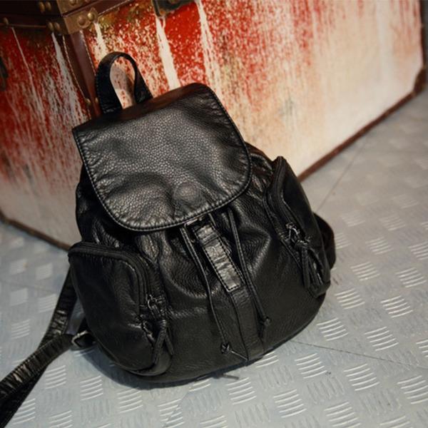 กระเป๋าเป้แฟชั่นเกาหลี หนังสีดำ ด้านในสายรูด ใส่ของได้เยอะ