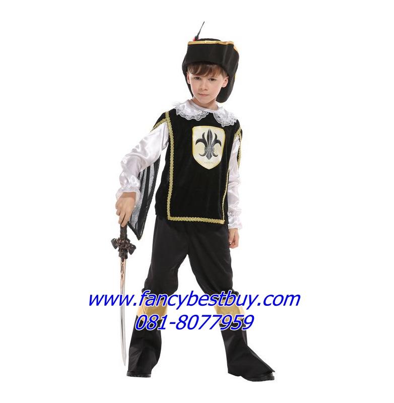 ชุดแฟนซีเด็ก ชุดอัศวินหรือชุดทหารเสือสีดำ มีขนาด M, L, XL