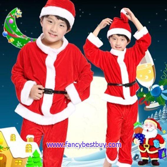 ชุดคริสมาสเด็กชาย Christmas Costume สำหรับ เทศกาลวันคริสมาส มีขนาด 110, 120, 130, 140, 150 (สำหรับสั่งเพิ่มถุงใส่ของขวัญและบูทปอกขา)