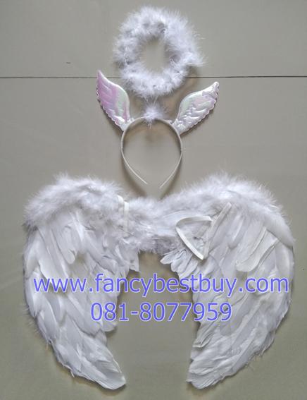 ชุดเด็กแฟนซี ชุดนางฟ้าสีขาว สำหรับเด็กขนาด 95-130 ซม. (1ชุด มี ปีกนก 40*35 ซม.+ที่ประดับศรีษะ)