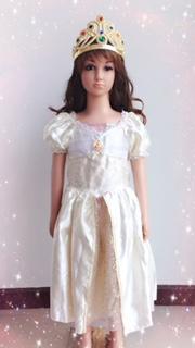 ชุดเจ้าหญิง ราพันเซล (Rapunzel) สีขาว สำหรับแฟนซีเด็กหญิง สำหรับเด็ก 100-125 ซม.
