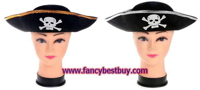 หมวกโจรสลัด แบบแข็ง มีขอบสีเงินและขอบสีทอง