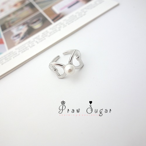 Cutie bow and pearl silver Ring