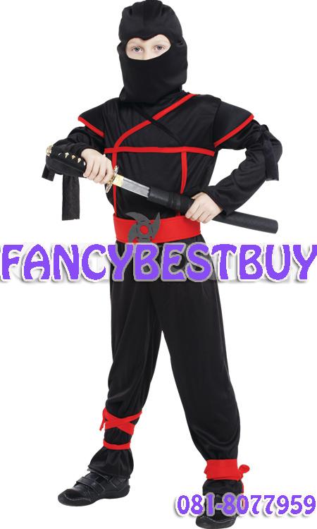 ชุดแฟนซีเด็กนินจาฮาโตริ สีดำ Black Ninja มีขนาด M, L, XL (ขนาดอื่นๆ สอบถามได้ครับ)