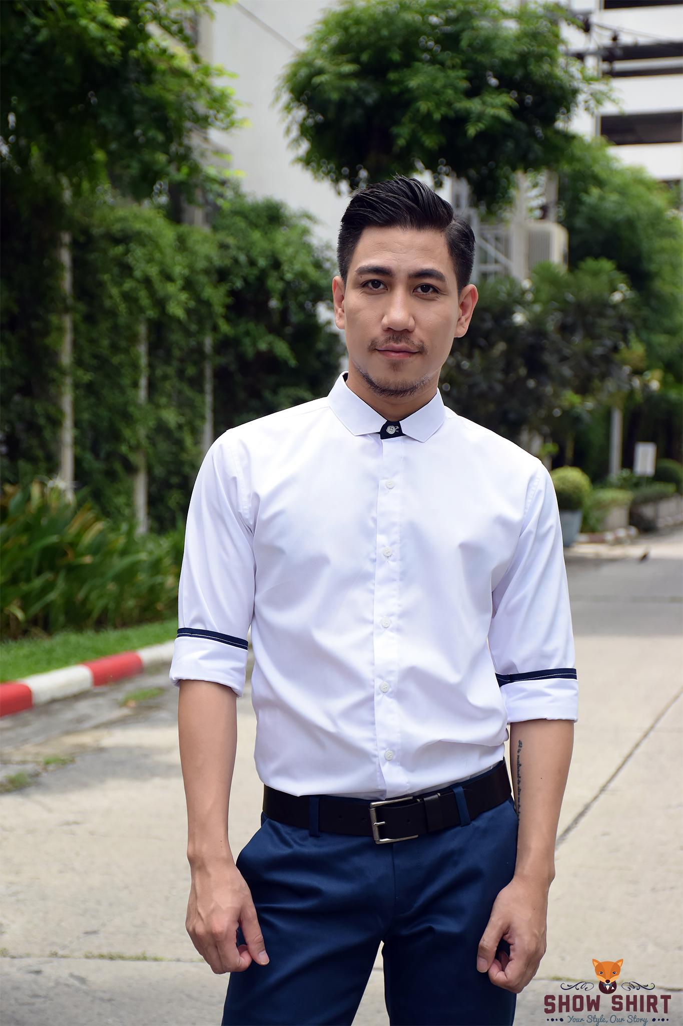 เสื้อเชิ้ตสีขาวรุ่นปกตัด