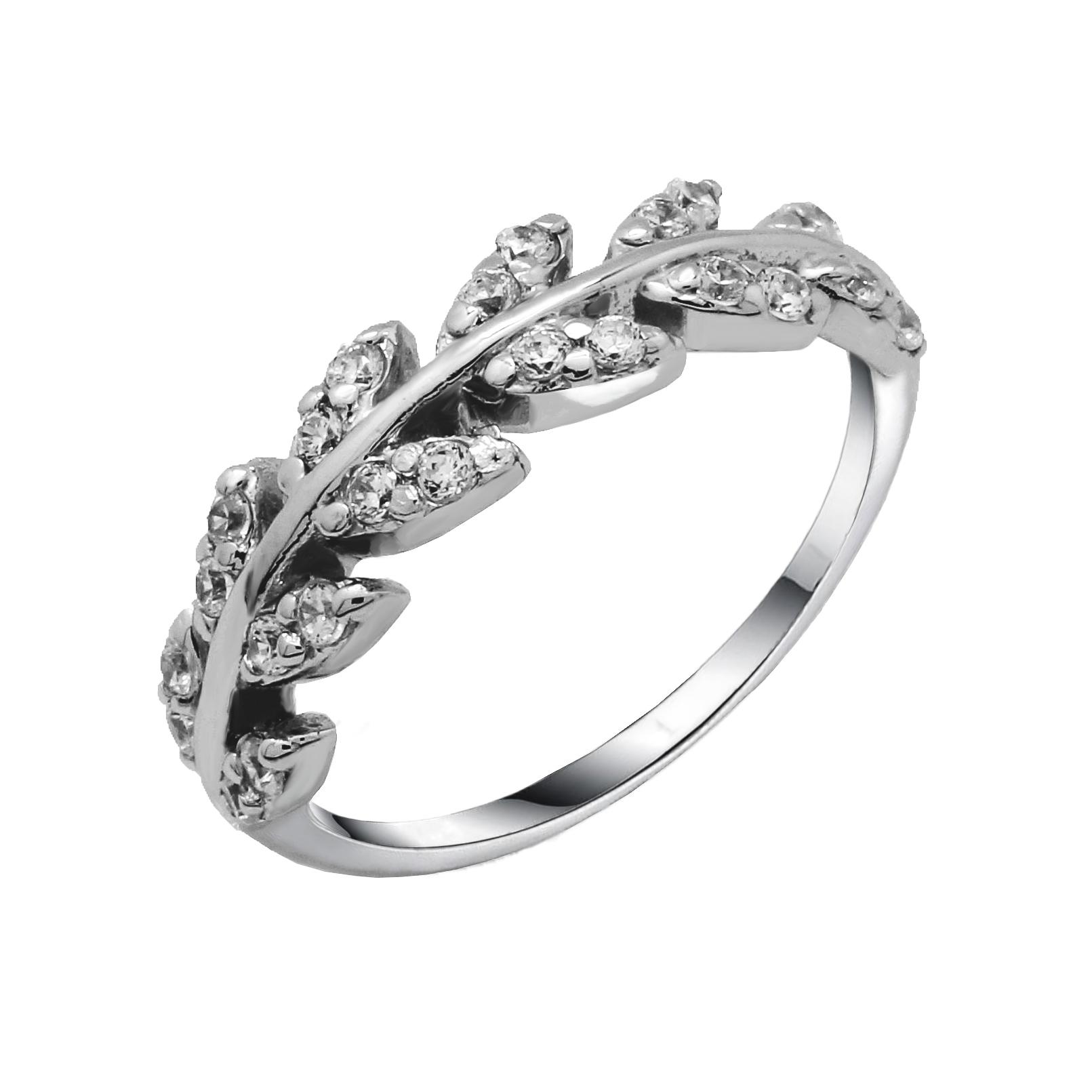 แหวนใบมะกอกนำโชค แหวนเงินแท้หุ้มทองคำขาวประดับเพชรCZ