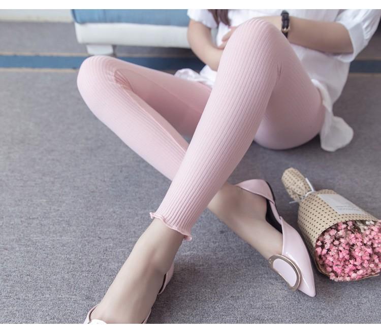กางเกงเลกกิ้งผยุงหน้าท้องผ้าทอลายเส้นสีชมพูอ่อน ปลายขาไร่ขอบ แนวๆน่ารัก เอวปรับระดับได้