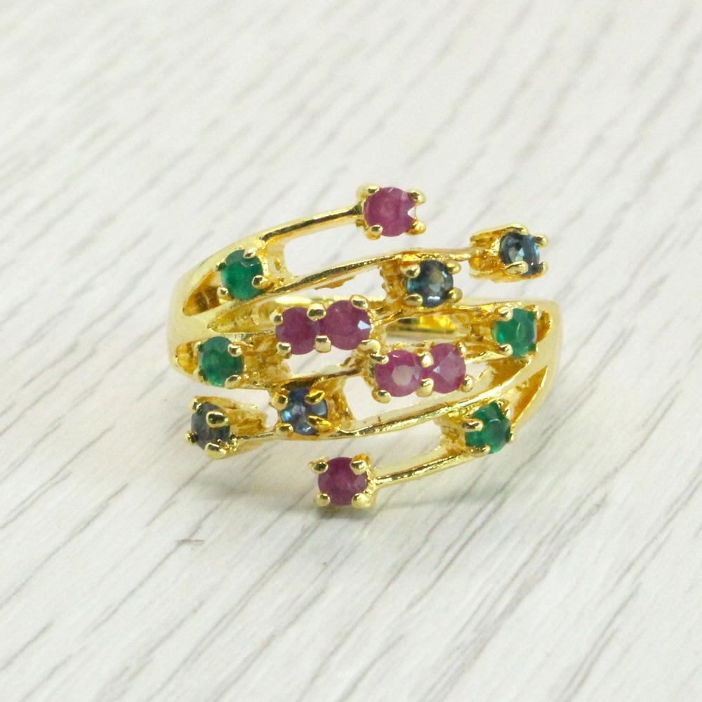 แหวนพลอยแท้ หุ้มทองคำแท้ ไซส์ 56