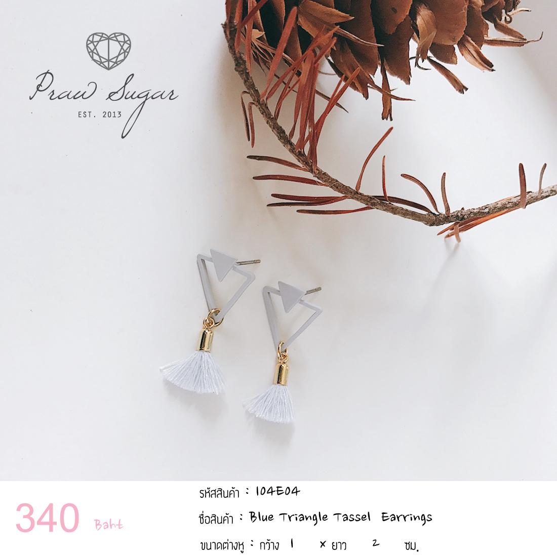 Blue Triangle Tassel Earrings