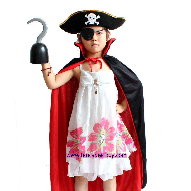 ชุดโจรสลัดเด็ก ใช้ได้ทั้งเด็กชายและเด็กหญิง ขนาดฟรีไซด์ ประกอบด้วย หมวกแบบแบ็ง+ที่ปิดตา+ผ้าคลุม 80 ซม. + มือตะขอ