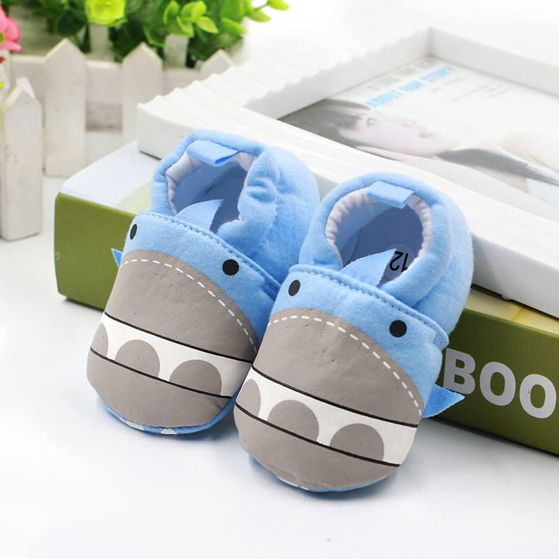 รองเท้าเด็กอ่อน 0-12เดือน รองเท้าเด็กชาย เด็กหญิง สีฟ้าลายฮิปโป