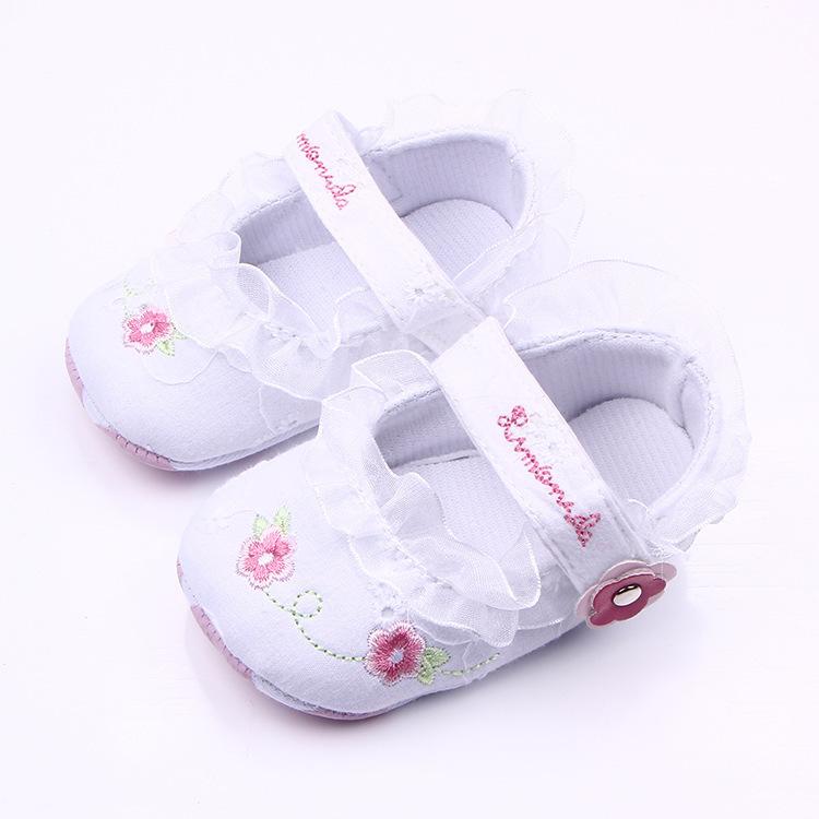 รองเท้าเด็กอ่อน 0-12เดือน รองเท้าเด็กชาย เด็กหญิง สีขาวลายดอกชมพู