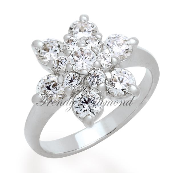 แหวนเพชร แหวนดาวกระจาย สีทองคำขาว