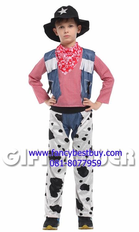 ชุดแฟนซีเด็กคาวบอยตำรวจ Sheriff cowboy มีขนาด M, L, XL (รวมเสื้อสีแดงลายสก๊อต ไม่รวมกางเกงยีนส์ )