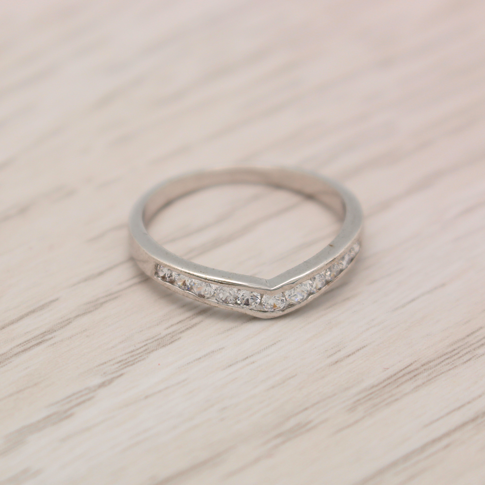 แหวนเพชรCZ หุ้มทองคำขาวแท้ ไซส์ 55