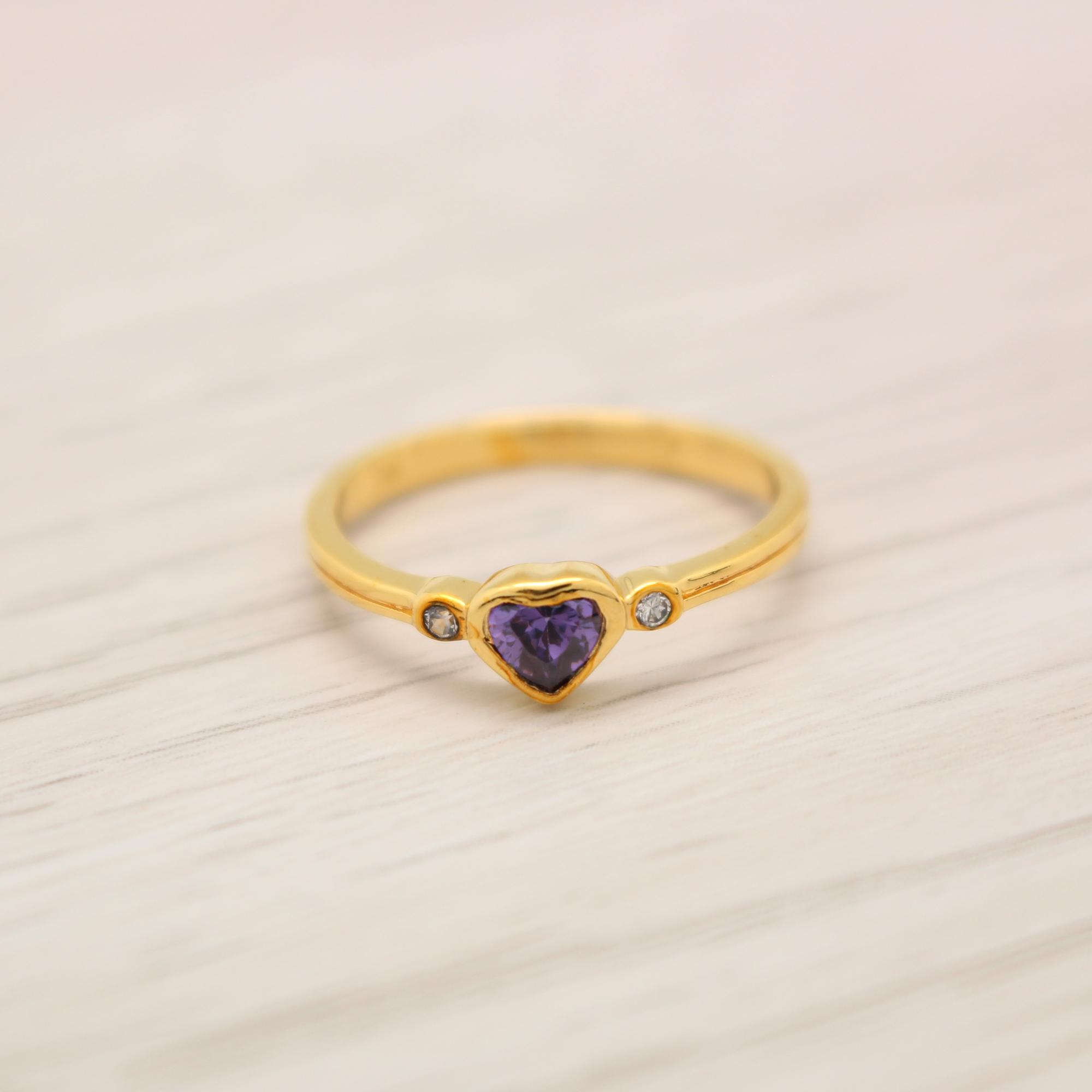 แหวนเพชรCZ สีม่วง หุ้มทองคำแท้ ไซส์ 54