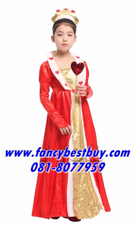ชุดราชินี Queen Costume สำหรับแฟนซีเด็กหญิง เทพนิยายในปราสาทดีสนีย์ Disney Princess ขนาด M, L, XL (ไม่รวมคทาหัวใจ)