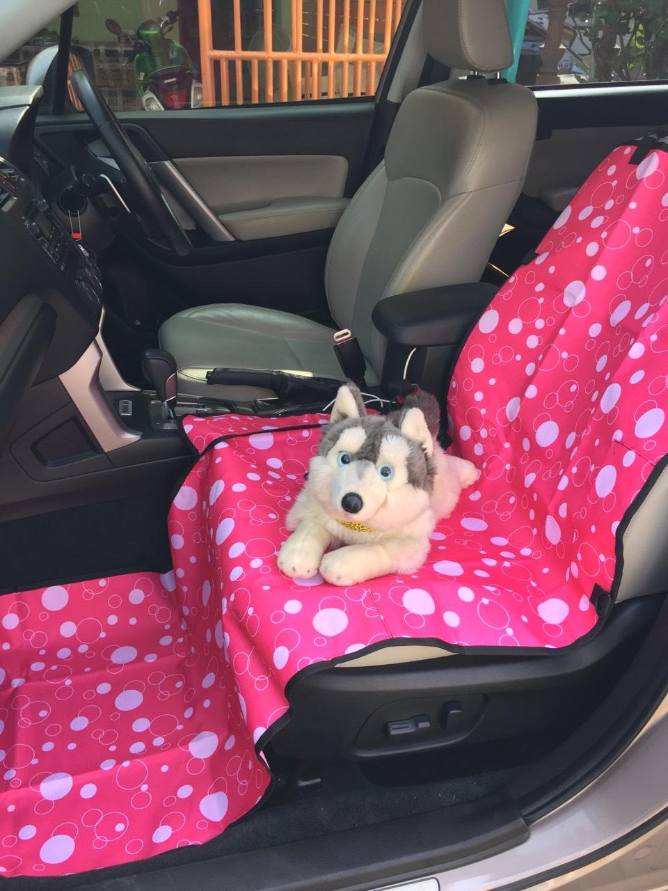 ผ้ารองเบาะรถยนต์ด้านหน้า ปูเต็ม สีชมพูลายฟองสบู่