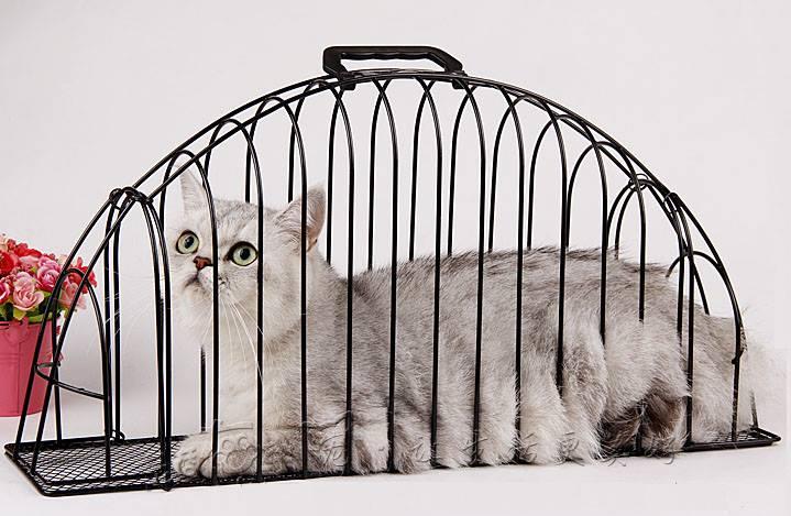 กรงอาบน้ำแมว รุ่น 2 ประตู สีดำ (ขนาดใหญ่ 56*14.5*28 cm)