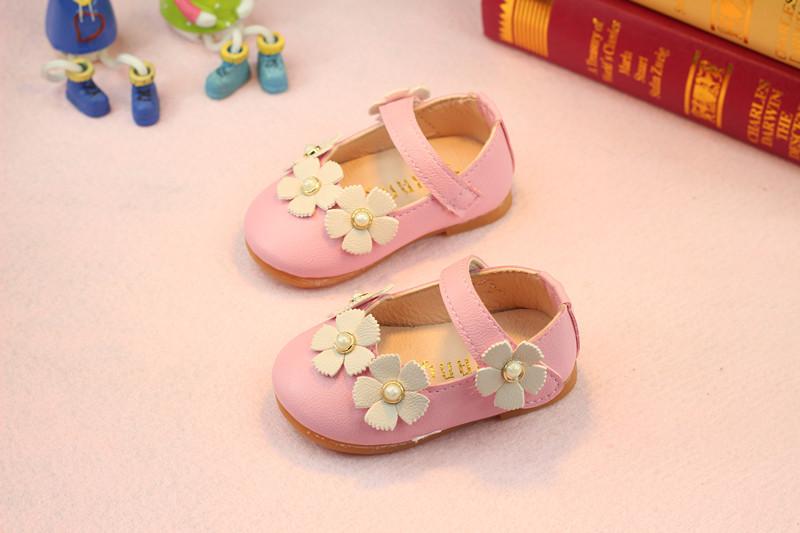 รองเท้าเด็กอ่อน 0-12เดือน รองเท้าเด็กชาย เด็กหญิง สีชมพูดอกขาว