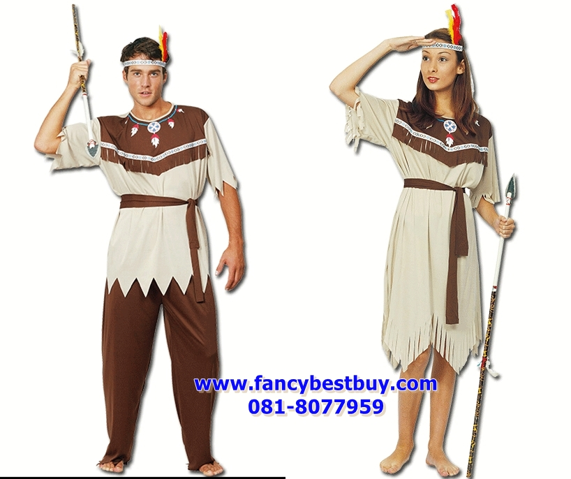 ชุดแฟนซีผู้ชายและหญิง ชุดมนุษย์หิน ชุดชนเผ่าดึกดำบรรพ์ ชุดย้อนยุค Aboriginal Costume ขนาดฟรีไซด์