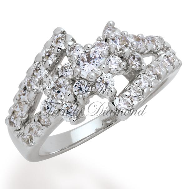 แหวนเพชรCZ เพชรสวิส A Flower สีทองคำขาว