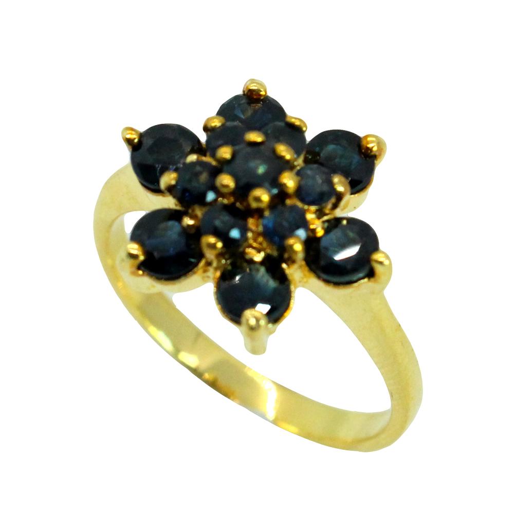 แหวนพลอยไพลินแท้ หุ้มทองคำแท้ ไซส์ 56