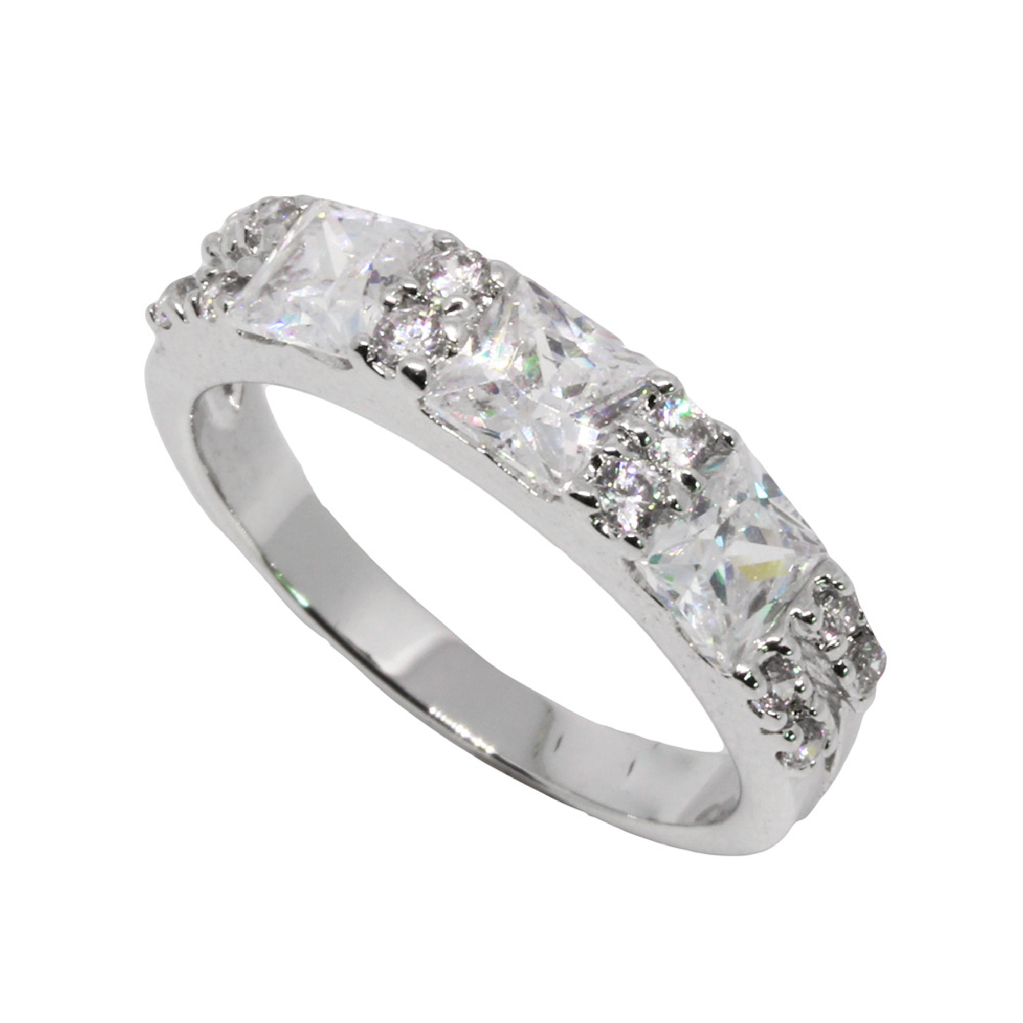 แหวนเพชรCZ หุ้มทองคำขาวแท้ ไซส์ 50