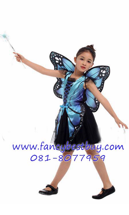 ชุดเด็กแฟนซีเจ้าหญิงน้อยผีเสื้อ สีฟ้า รุ่นนี้ปีกสวยมาก ขนาด M, L