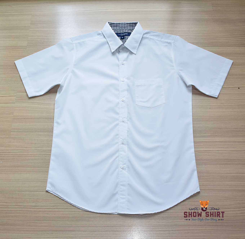 เสื้อเชิ้ตแขนสั้น สีขาว