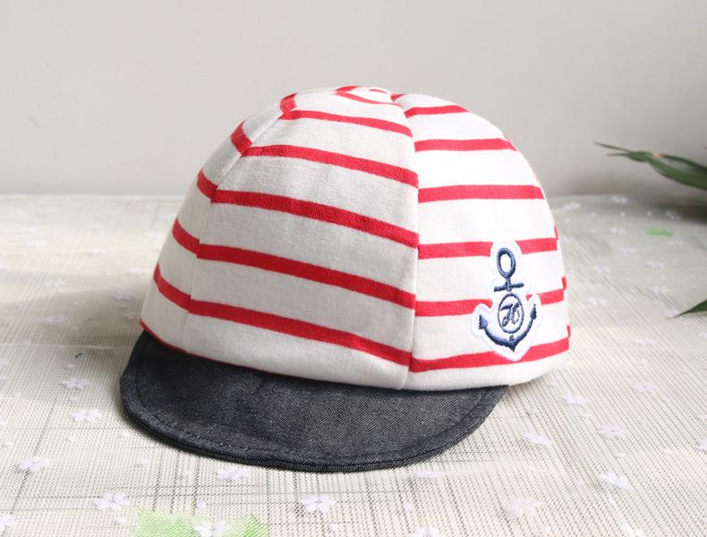 หมวกแก๊ปสีแดงขาวลายขวาง ติดตาสมอ สำหรับเด็ก 1-6เดือน น่ารักมากๆค่ะ