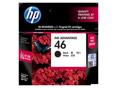 HP 46 ตลับหมึกอิงค์เจ็ท สีดำ Black Original Ink (CZ637AA)