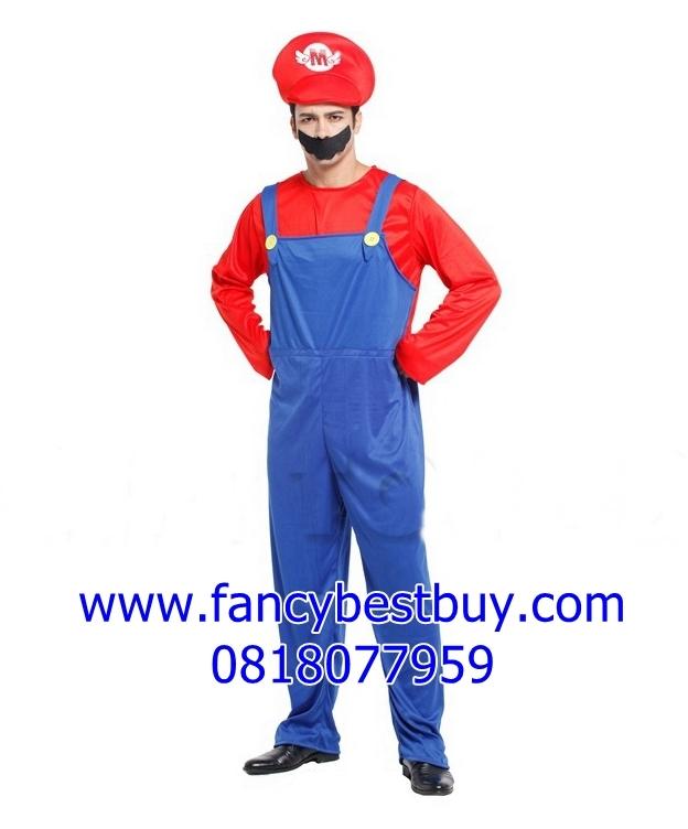 ชุดแฟนซีผู้ใหญ่ มาริโอ้สีแดง จาก game Mario ขนาดฟรีไซด์ สำหรับความสูง 165-180 ซม.